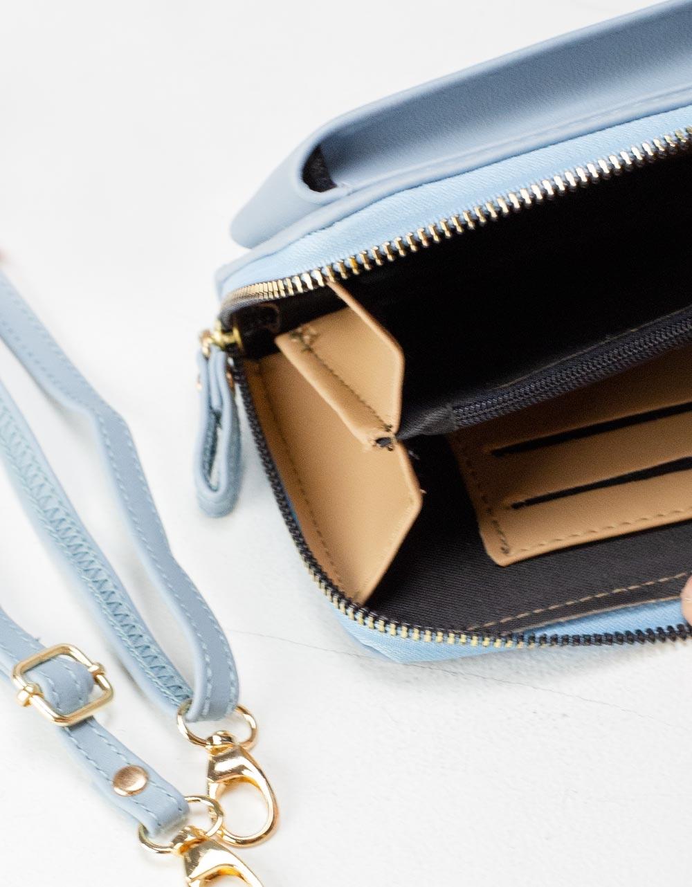 Εικόνα από Γυναικεία πορτοφόλια με εξωτερική θήκη κινητού Σιέλ
