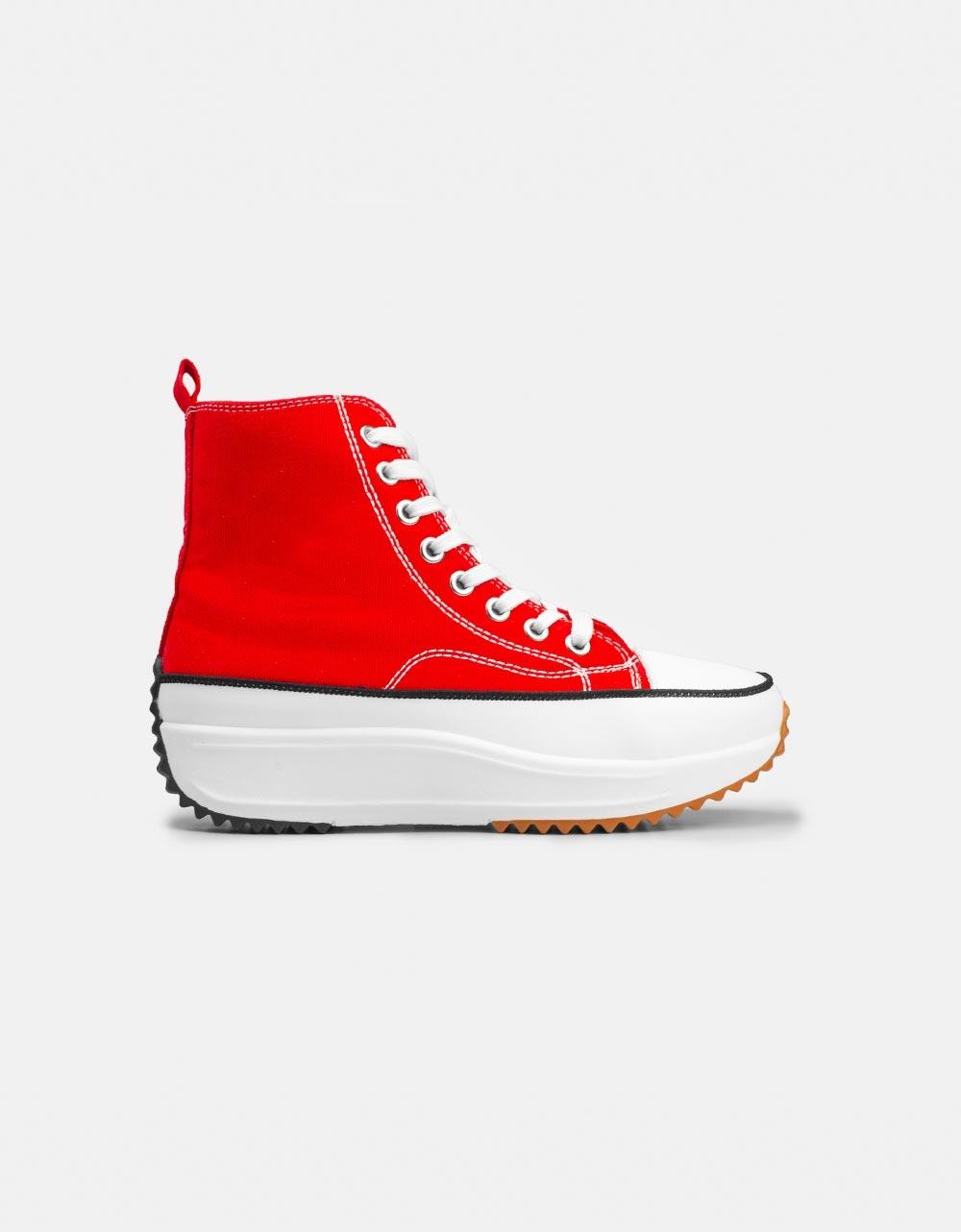 Εικόνα από Γυναικεία sneakers μποτάκια με διακοσμητική ραφή Κόκκινο