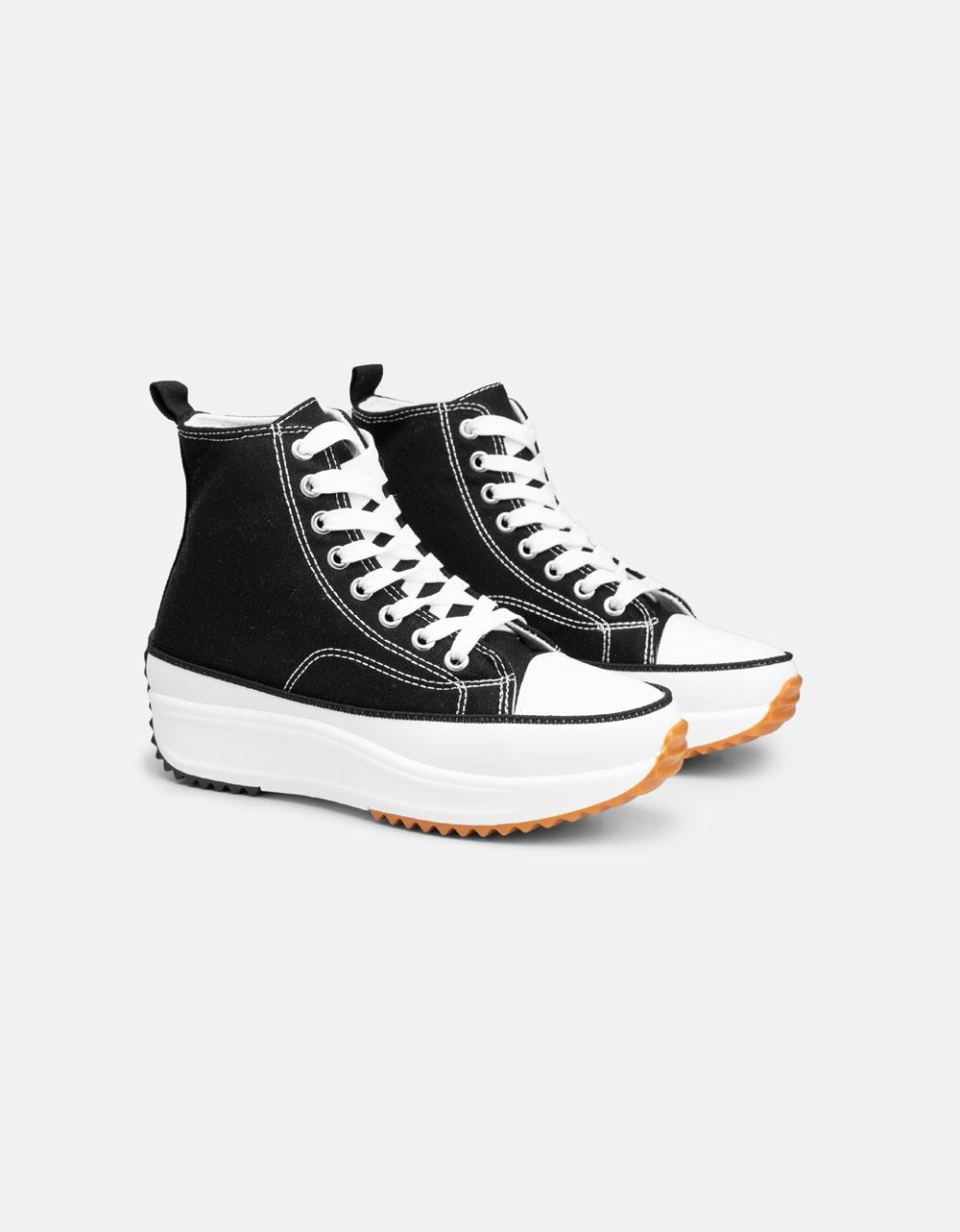 Εικόνα από Γυναικεία sneakers μποτάκια με διακοσμητική ραφή Μαύρο