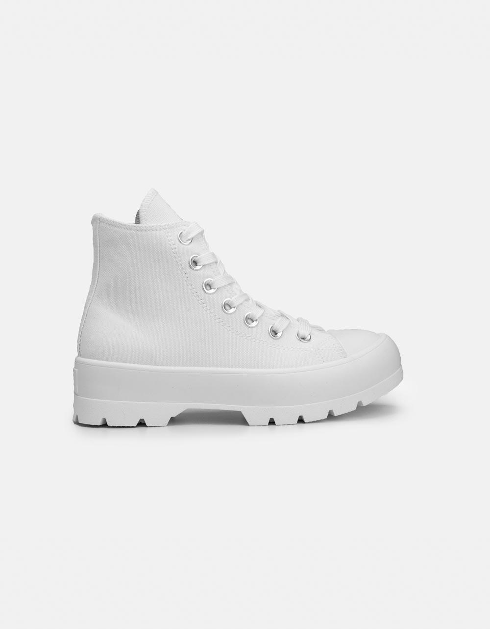 Εικόνα από Γυναικεία υφασμάτινα sneaker μποτάκια Λευκό