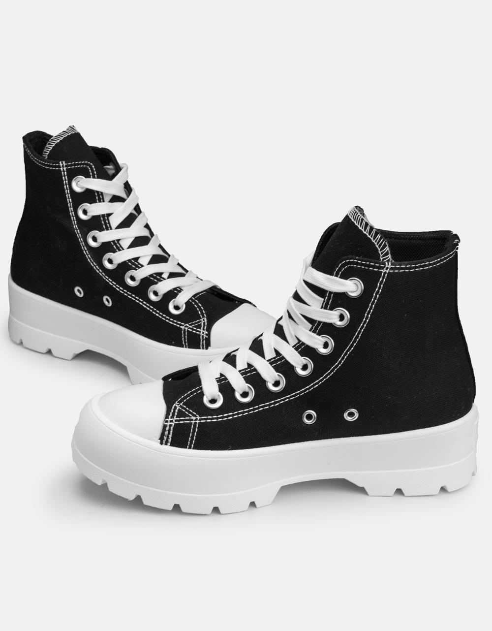 Εικόνα από Γυναικεία υφασμάτινα sneaker μποτάκια Μαύρο