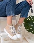 Εικόνα από Γυναικεία υφασμάτινα sneaker μποτάκια Μπεζ