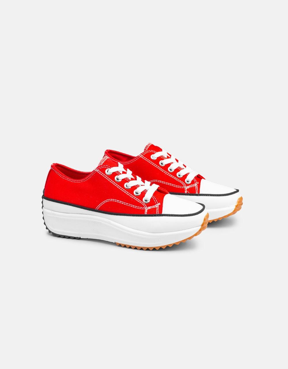 Εικόνα από Γυναικεία sneakers με ψηλή σόλα Κόκκινο