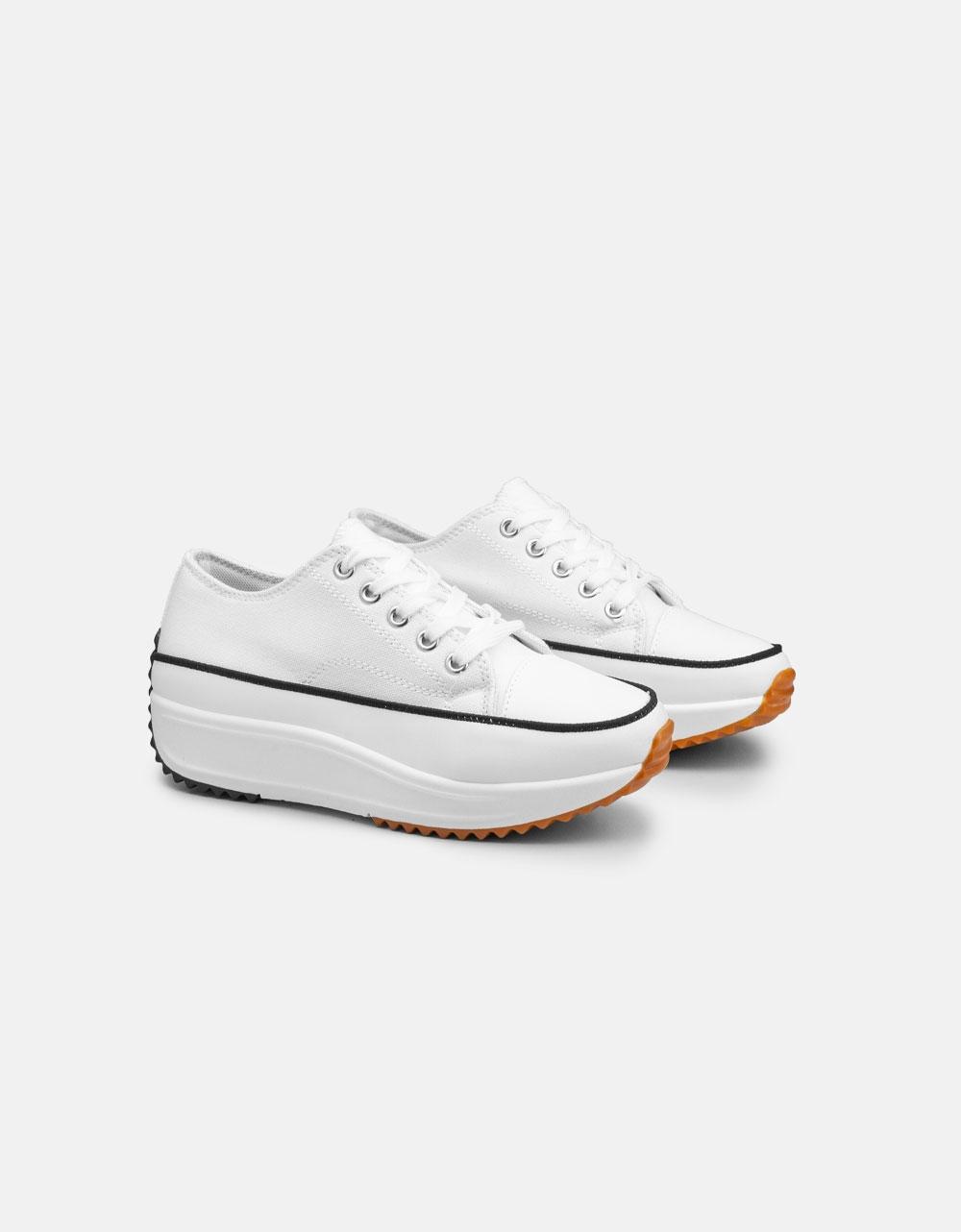 Εικόνα από Γυναικεία sneakers με ψηλή σόλα Λευκό