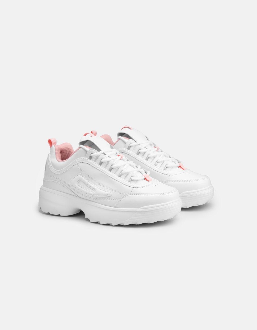 Εικόνα από Γυναικεία sneakers με chunky σόλα Λευκό/Ροζ