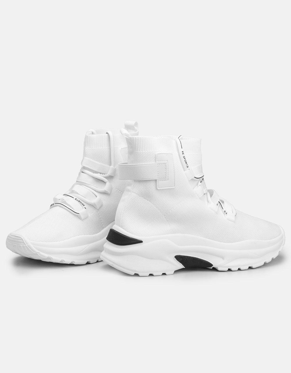 Εικόνα από Γυναικεία sneakers κάλτσα με ψηλή σόλα Λευκό