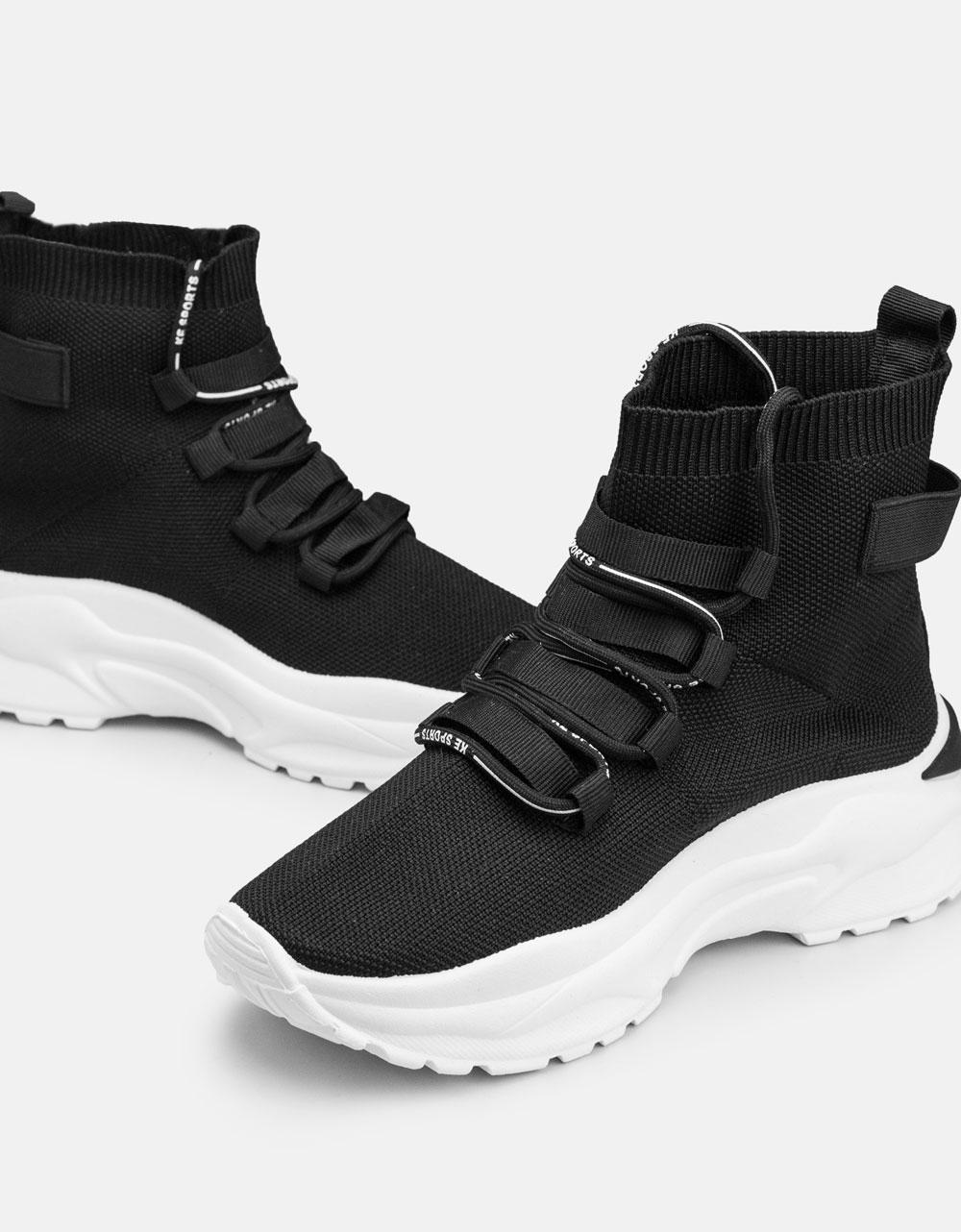Εικόνα από Γυναικεία sneakers κάλτσα με ψηλή σόλα Μαύρο