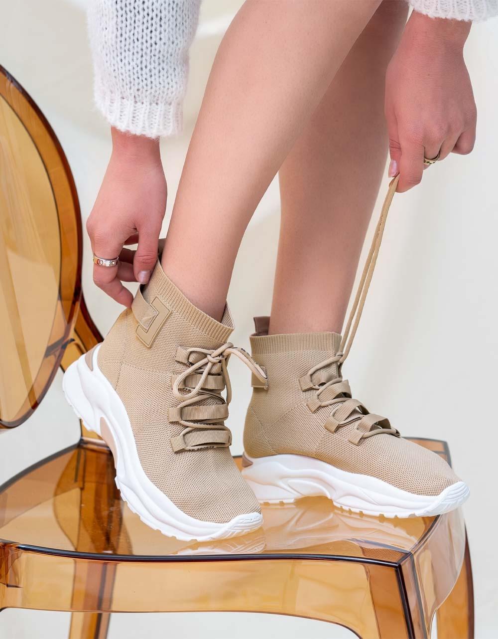 Εικόνα από Γυναικεία sneakers κάλτσα με ψηλή σόλα Μπεζ