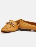 Εικόνα από Γυναικεία loafers κροκό με μεταλλική αγκράφα Κάμελ