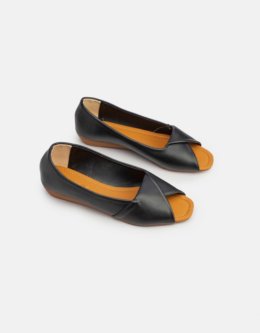 Εικόνα από Γυναικεία loafers peep toe Μαύρο