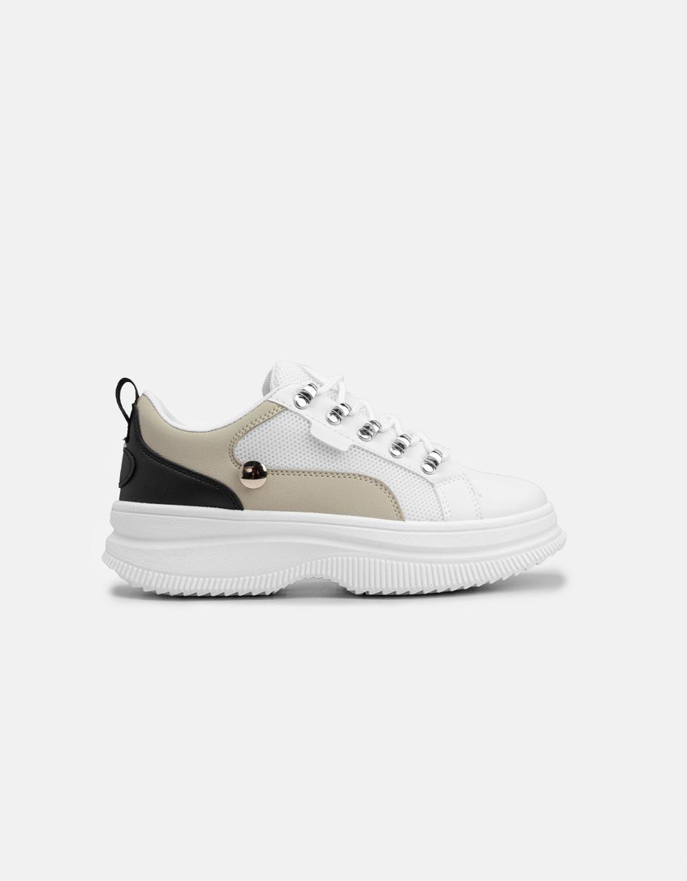Εικόνα από Γυναικεία sneakers basic με διάτρητο σχέδιο Λευκό/Μαύρο