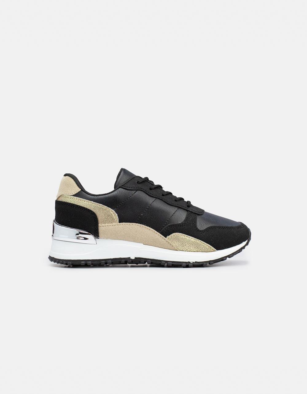 Εικόνα από Γυναικεία sneakers σε συνδυασμούς χρωμάτων Μαύρο/Χρυσό