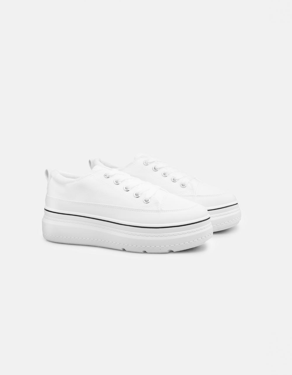 Εικόνα από Γυναικεία sneakers με εφέ ραφές στη σόλα Λευκό