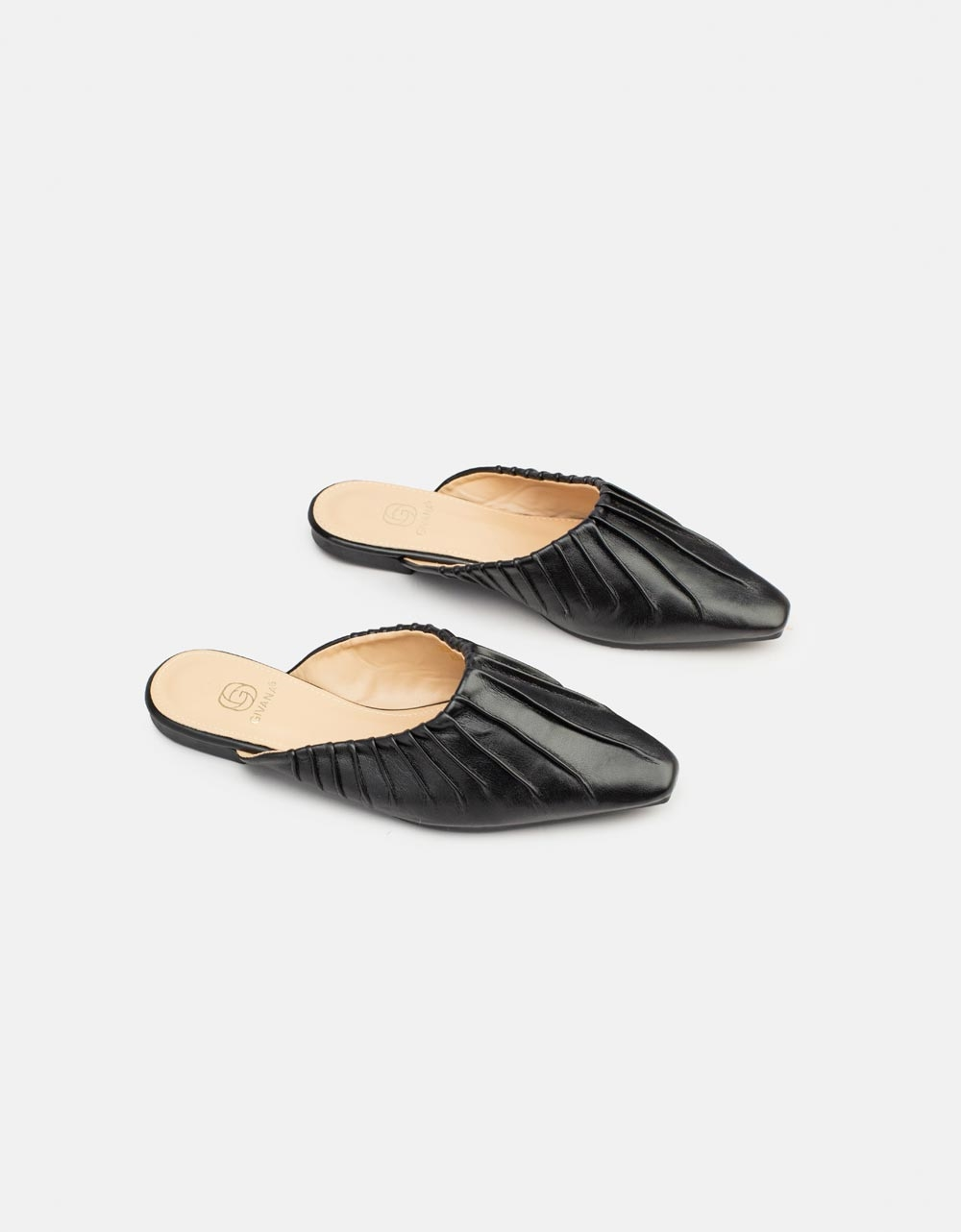 Εικόνα από Γυναικεία flat mules μονόχρωμα Μαύρο
