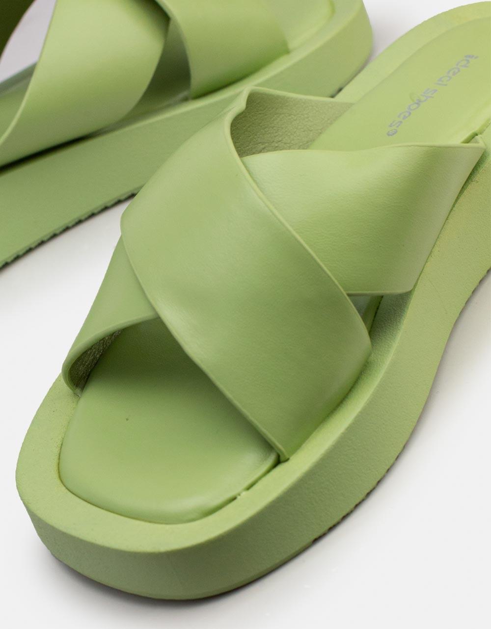 Εικόνα από Γυναικεία σανδάλια με χιαστί φάσα Πράσινο