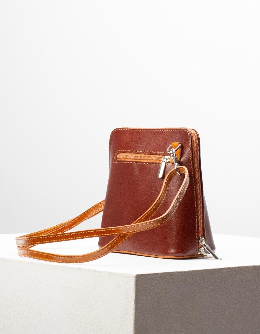 Εικόνα από Γυναικεία τσάντα ώμου γνήσιο δέρμα μονόχρωμη Καφέ
