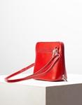 Εικόνα από Γυναικεία τσάντα ώμου γνήσιο δέρμα μονόχρωμη Κόκκινο