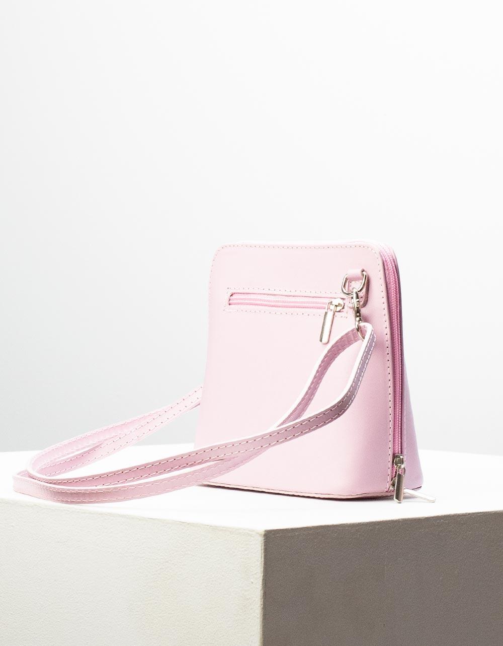 Εικόνα από Γυναικεία τσάντα ώμου γνήσιο δέρμα μονόχρωμη Λιλά