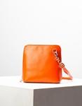 Εικόνα από Γυναικεία τσάντα ώμου γνήσιο δέρμα μονόχρωμη Πορτοκαλί