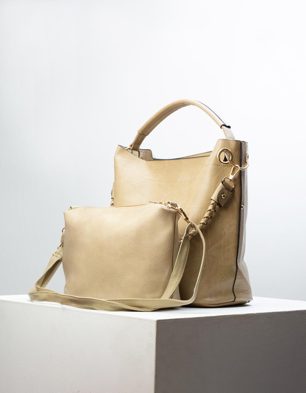 Εικόνα από Γυναικεία τσάντα ώμου με εσωτερικό τσαντάκι Μπεζ