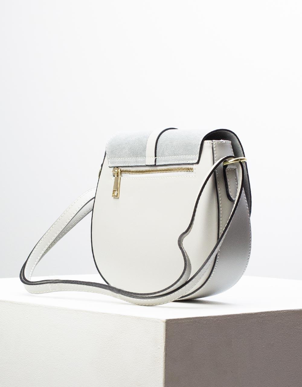 Εικόνα από Γυναικεία τσάντα ώμου & χιαστί από γνήσιο δέρμα σε συνδιασμούς υλικών Γκρι