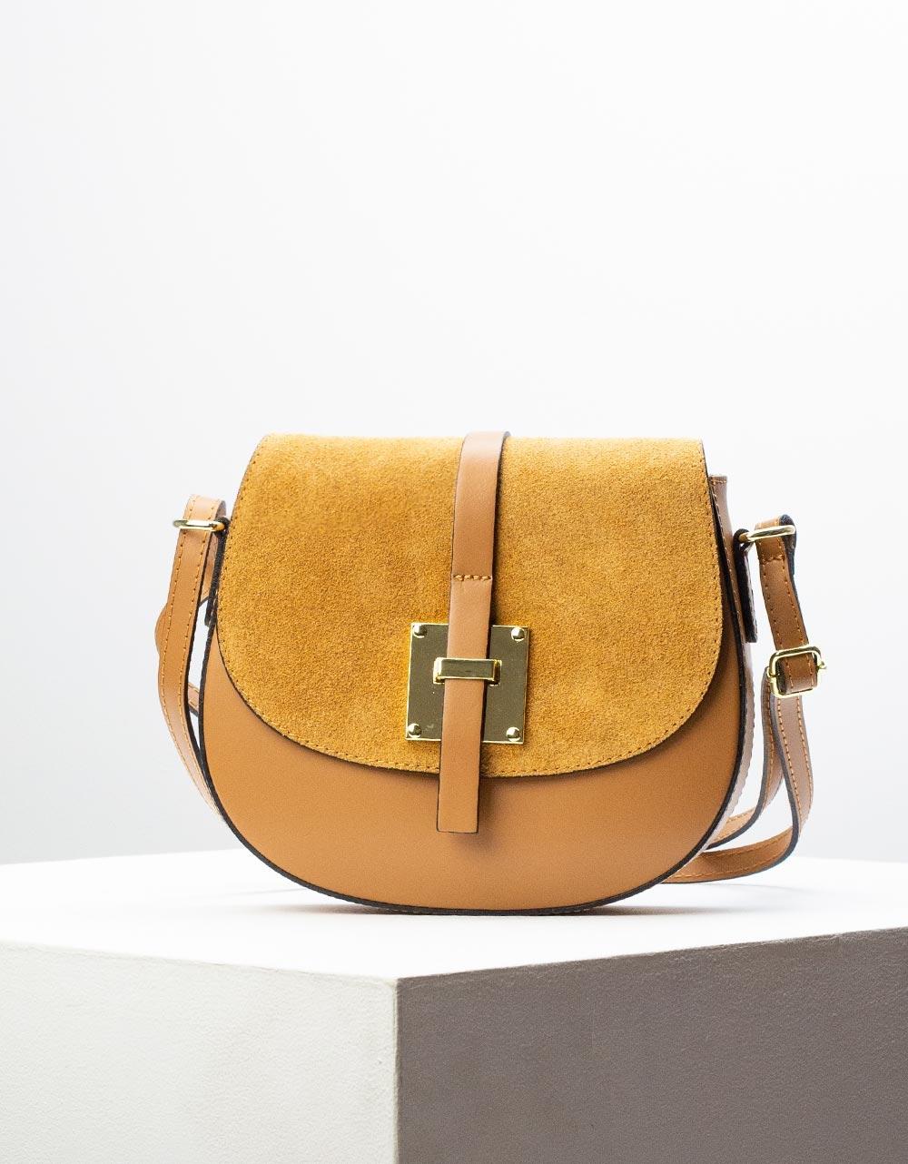 Εικόνα από Γυναικεία τσάντα ώμου & χιαστί από γνήσιο δέρμα σε συνδιασμούς υλικών Κάμελ
