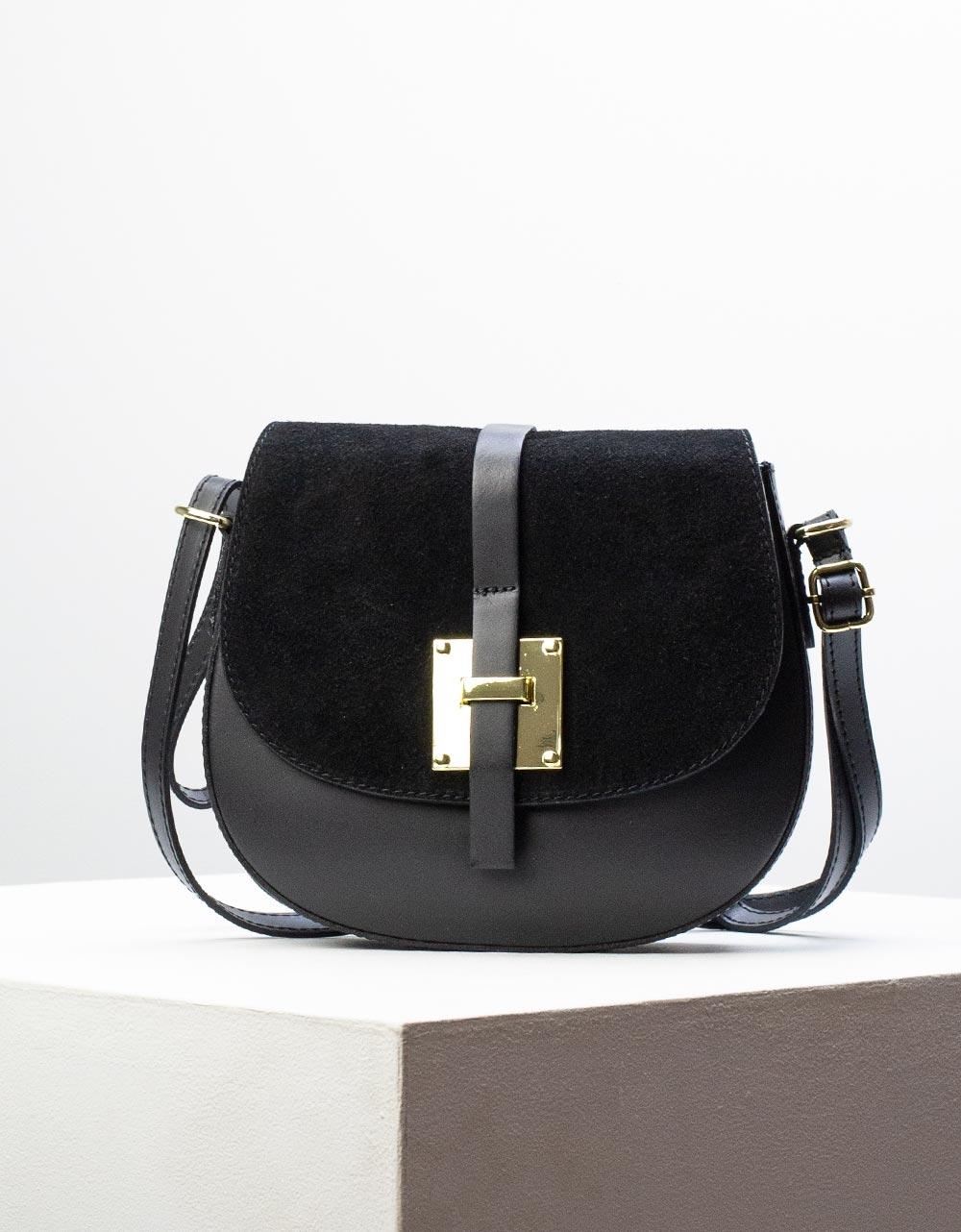 Εικόνα από Γυναικεία τσάντα ώμου & χιαστί από γνήσιο δέρμα σε συνδυασμούς υλικών Μαύρο