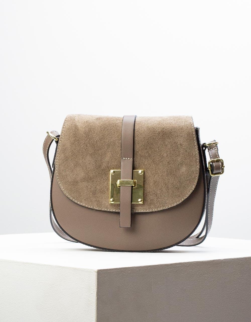 Εικόνα από Γυναικεία τσάντα ώμου & χιαστί από γνήσιο δέρμα σε συνδυασμούς υλικών Πούρο