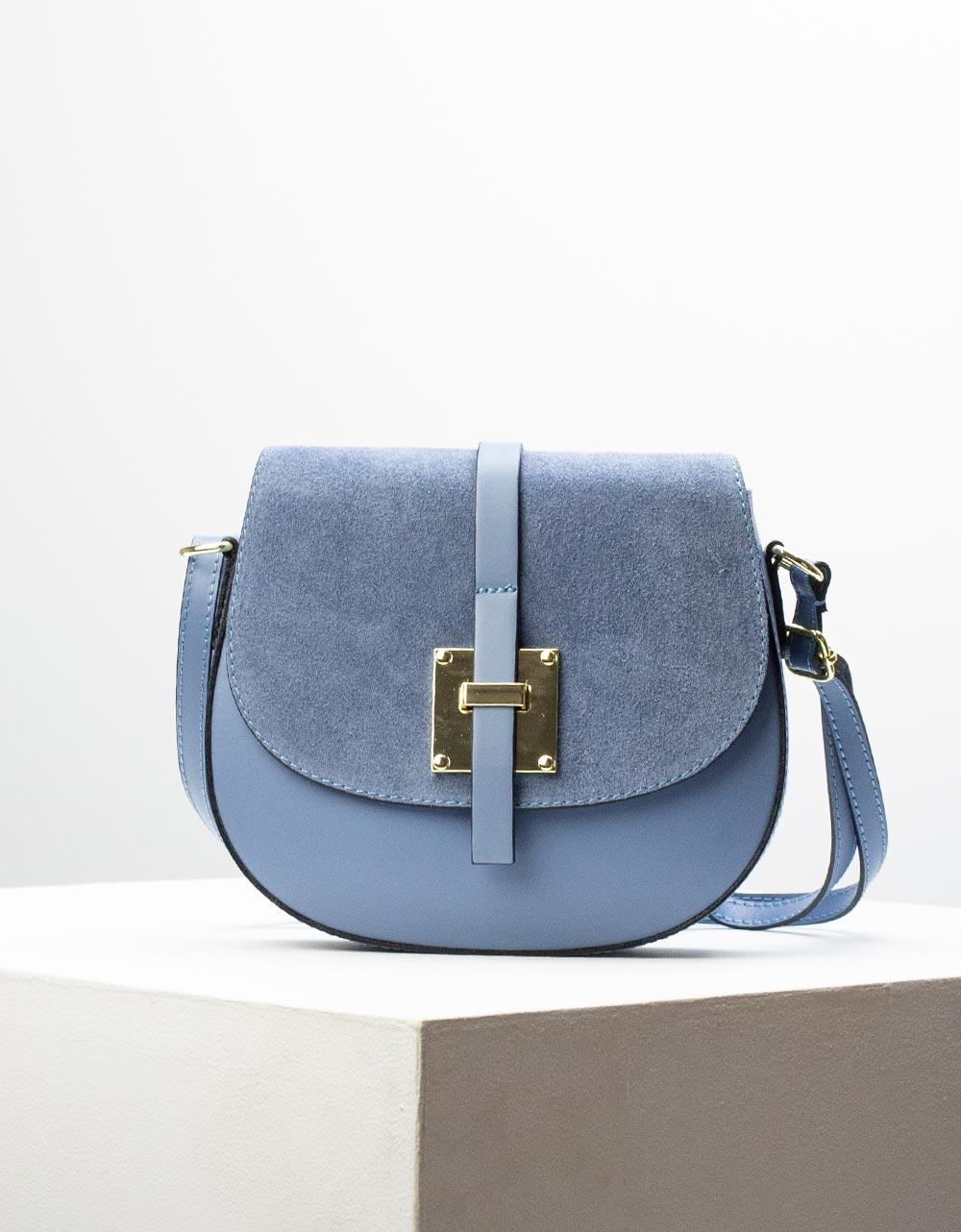 Εικόνα από Γυναικεία τσάντα ώμου & χιαστί από γνήσιο δέρμα σε συνδιασμούς υλικών Σιέλ
