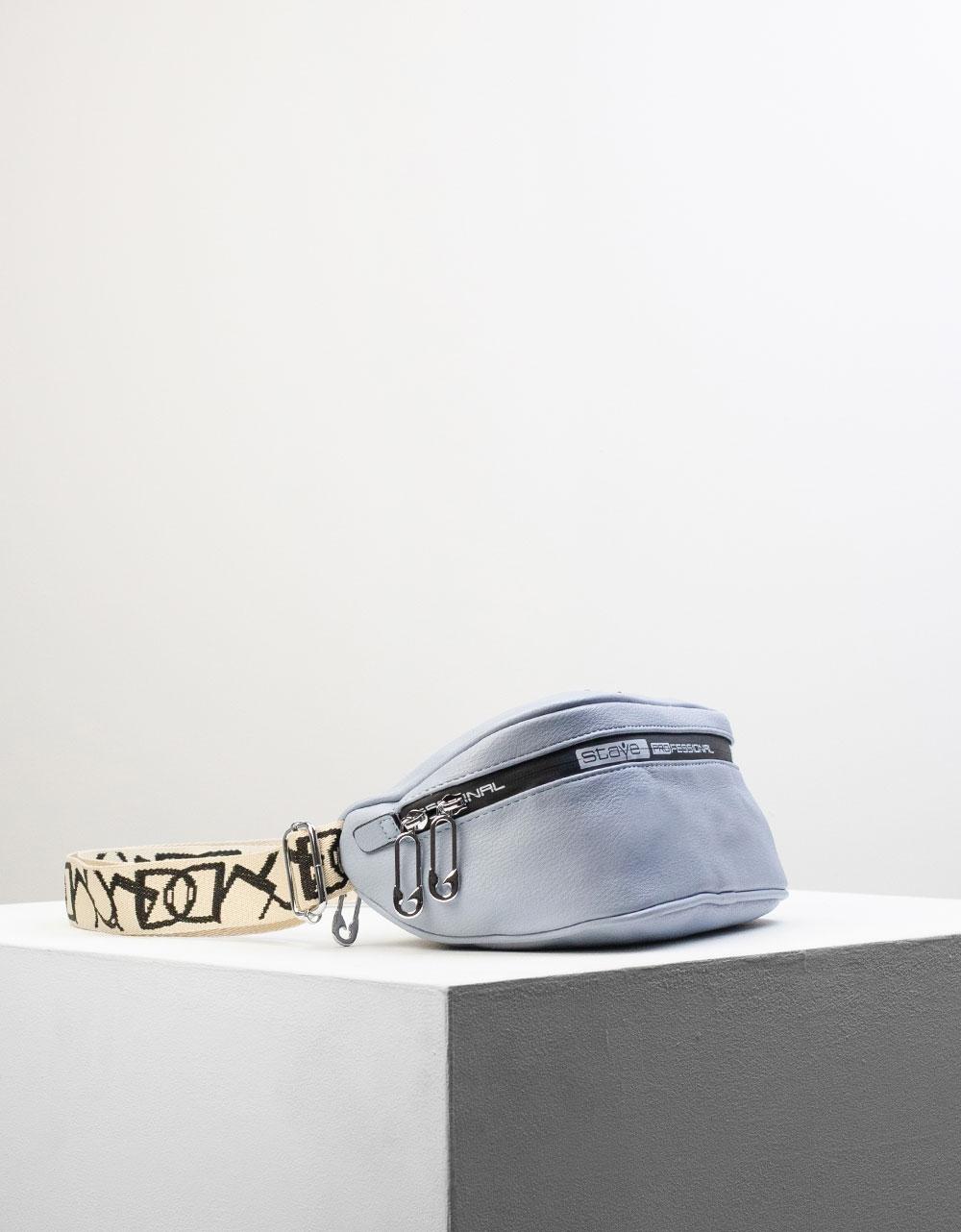 Εικόνα από Γυναικείο crossbody τσαντάκι με ραφές Σιέλ