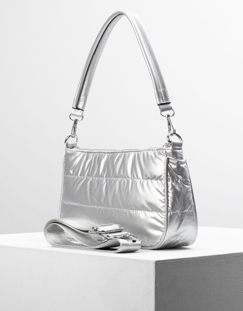 Εικόνα από Γυναικεία τσάντα ώμου & χιαστί καπιτονέ Ασημί