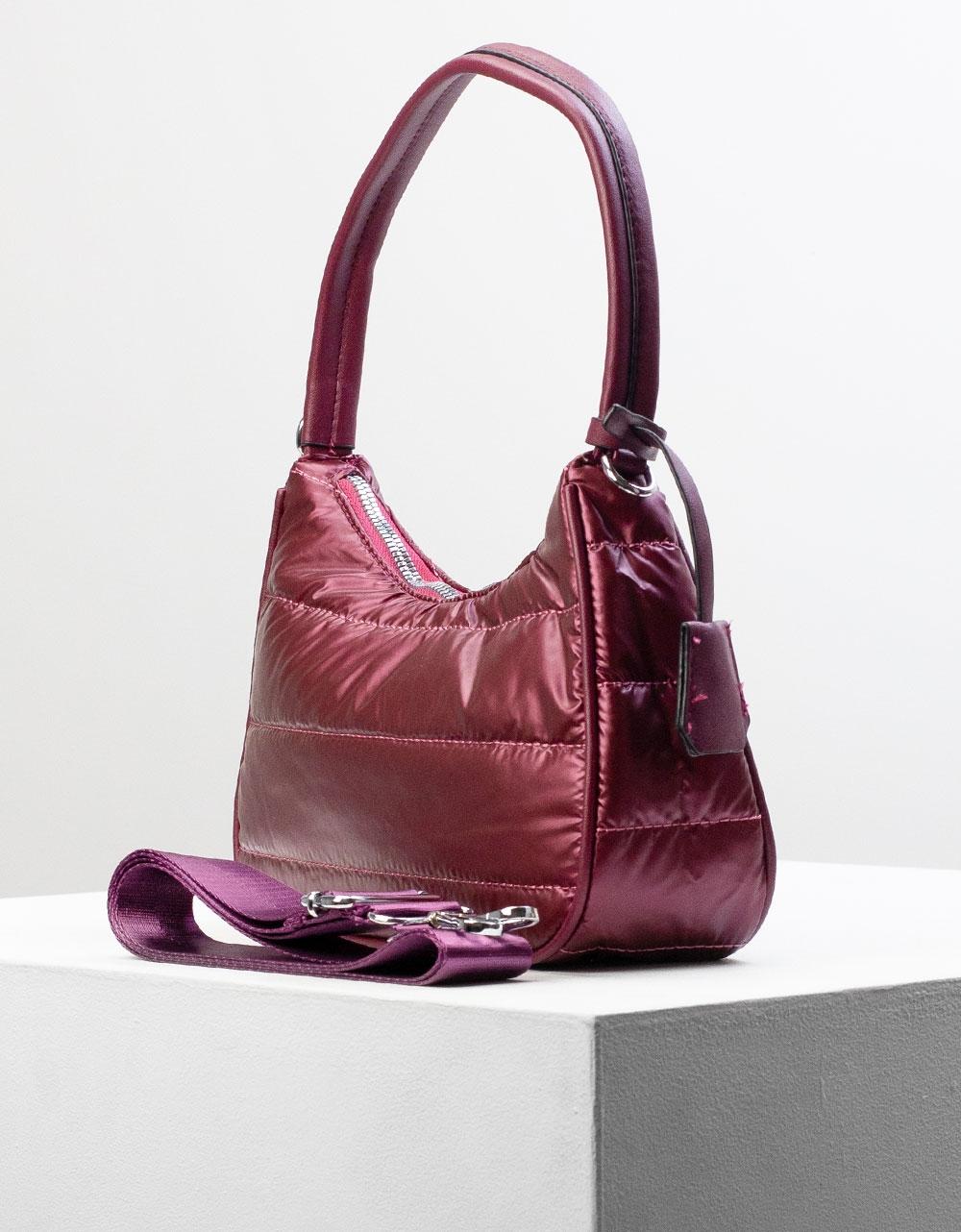 Εικόνα από Γυναικεία τσάντα ώμου & χιαστί καπιτονέ Μπορντώ