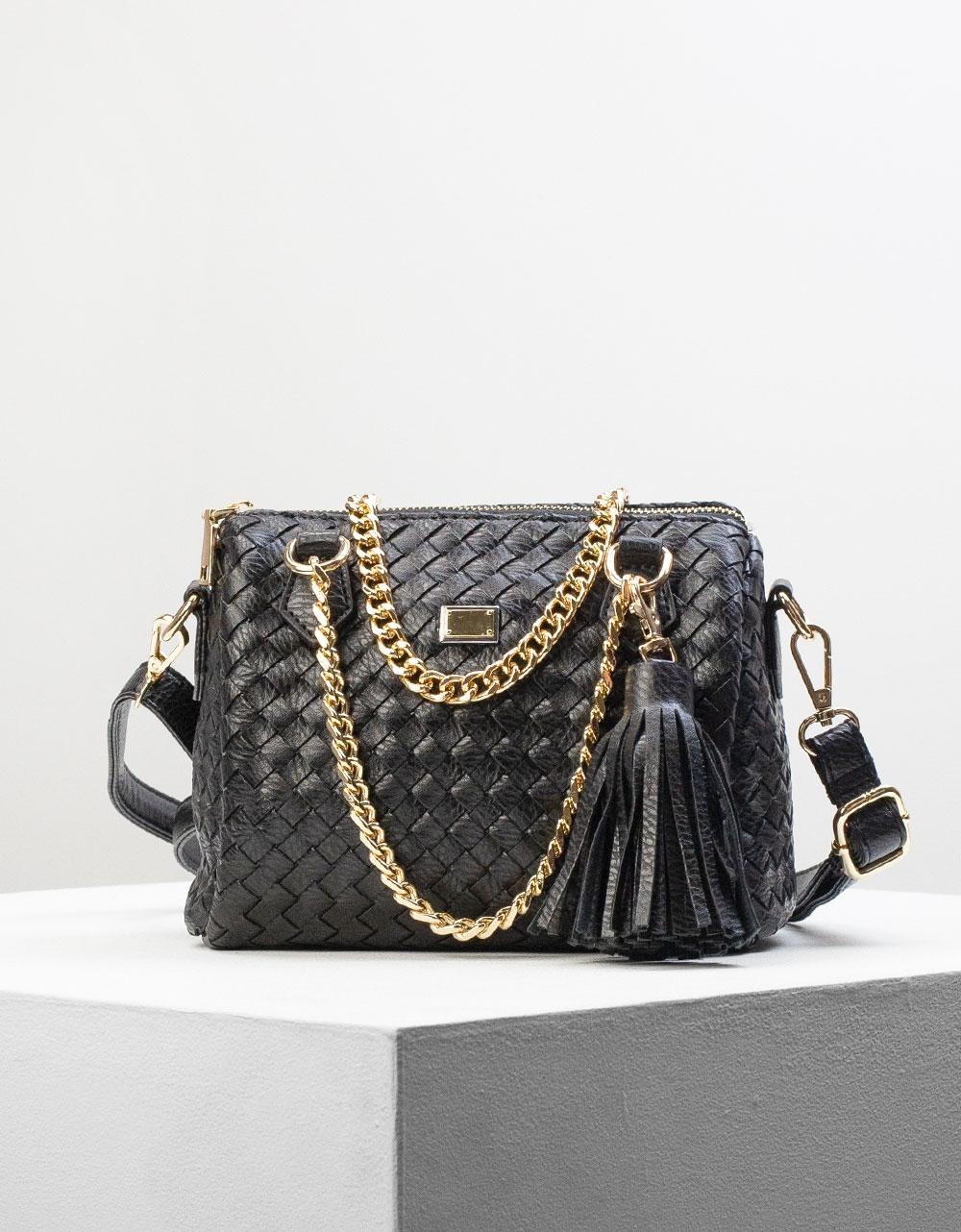 Εικόνα από Γυναικεία τσάντα ώμου & χιαστί με ανάγλυφο σχέδιο και αλυσίδα Μαύρο