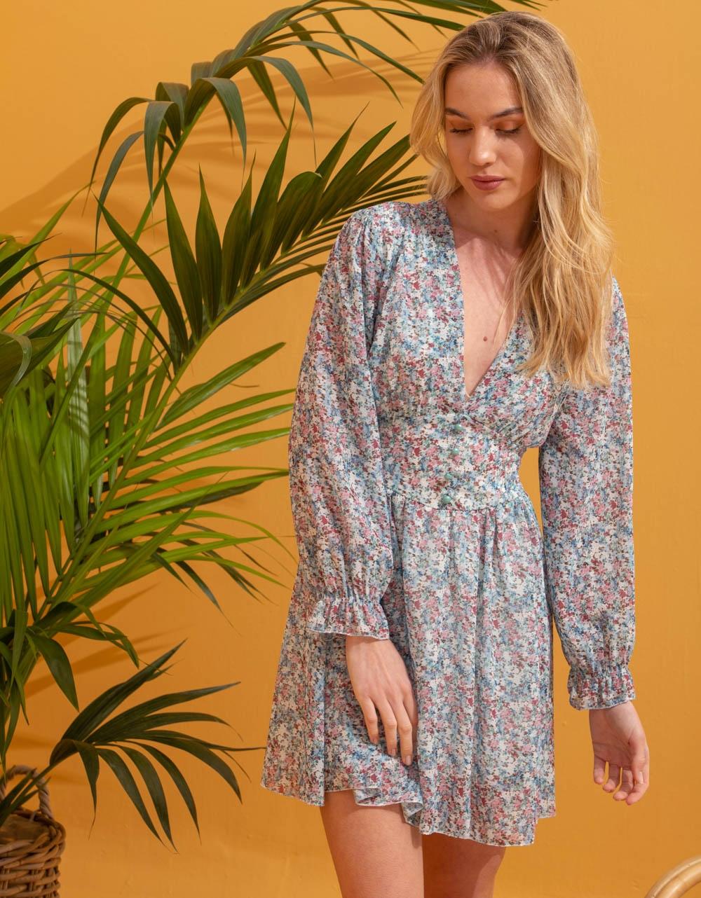 Εικόνα από Γυναικείο φόρεμα floral με βολάν Βεραμάν