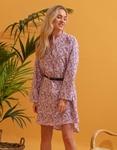 Εικόνα από Γυναικείο φόρεμα πουκάμισο με ζωνάκι Μωβ