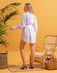Εικόνα από Γυναικείο φόρεμα πουκάμισο με διχρωμία Λευκό/Μπλε