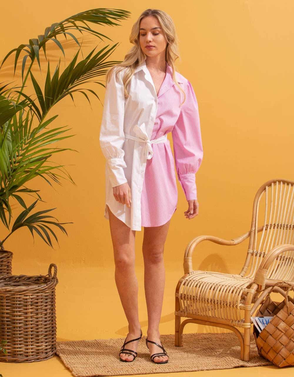 Εικόνα από Γυναικείο φόρεμα πουκάμισο με διχρωμία Λευκό/Ροζ