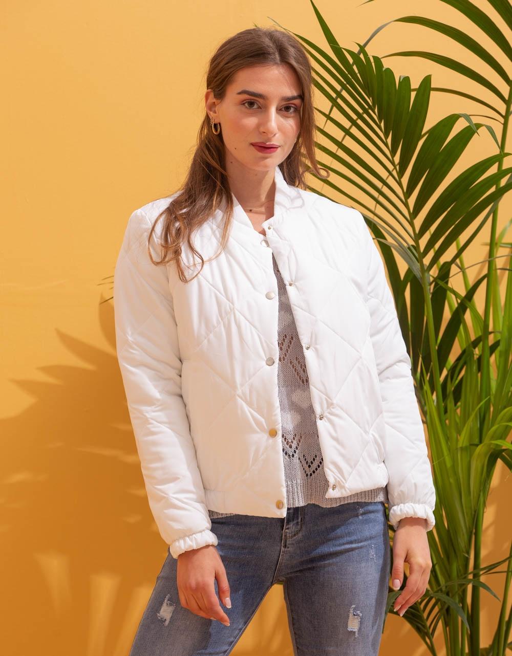 Εικόνα από Γυναικείο μπουφάν cropped καπιτονέ Λευκό