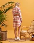 Εικόνα από Γυναικείο πουκάμισο φόρεμα καρό Μωβ