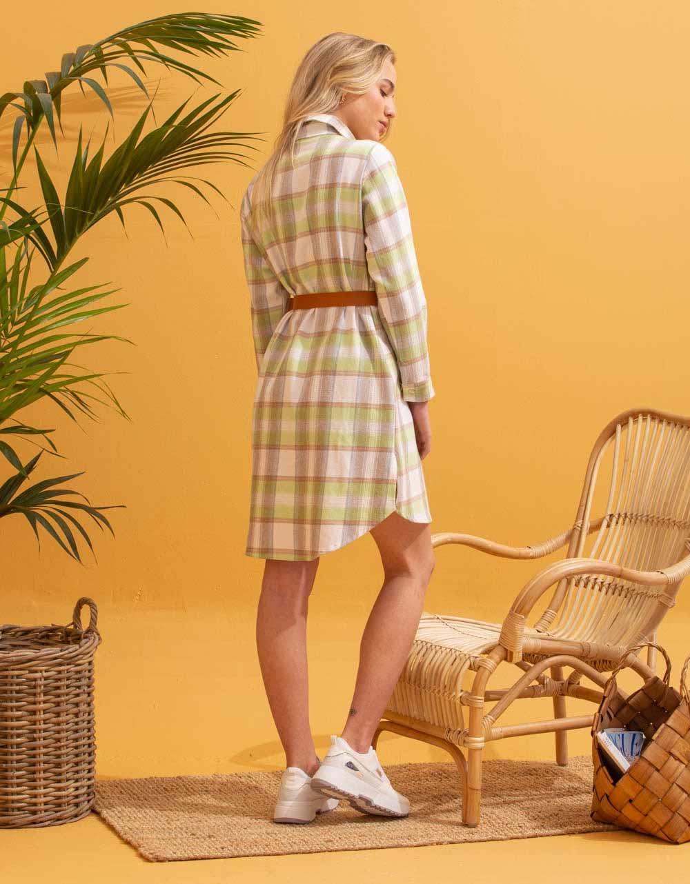 Εικόνα από Γυναικείο πουκάμισο φόρεμα καρό Πράσινο