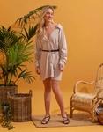 Εικόνα από Γυναικείο φόρεμα πουκάμισο με σούρες Γκρι