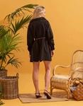 Εικόνα από Γυναικείο φόρεμα πουκάμισο με σούρες Μαύρο
