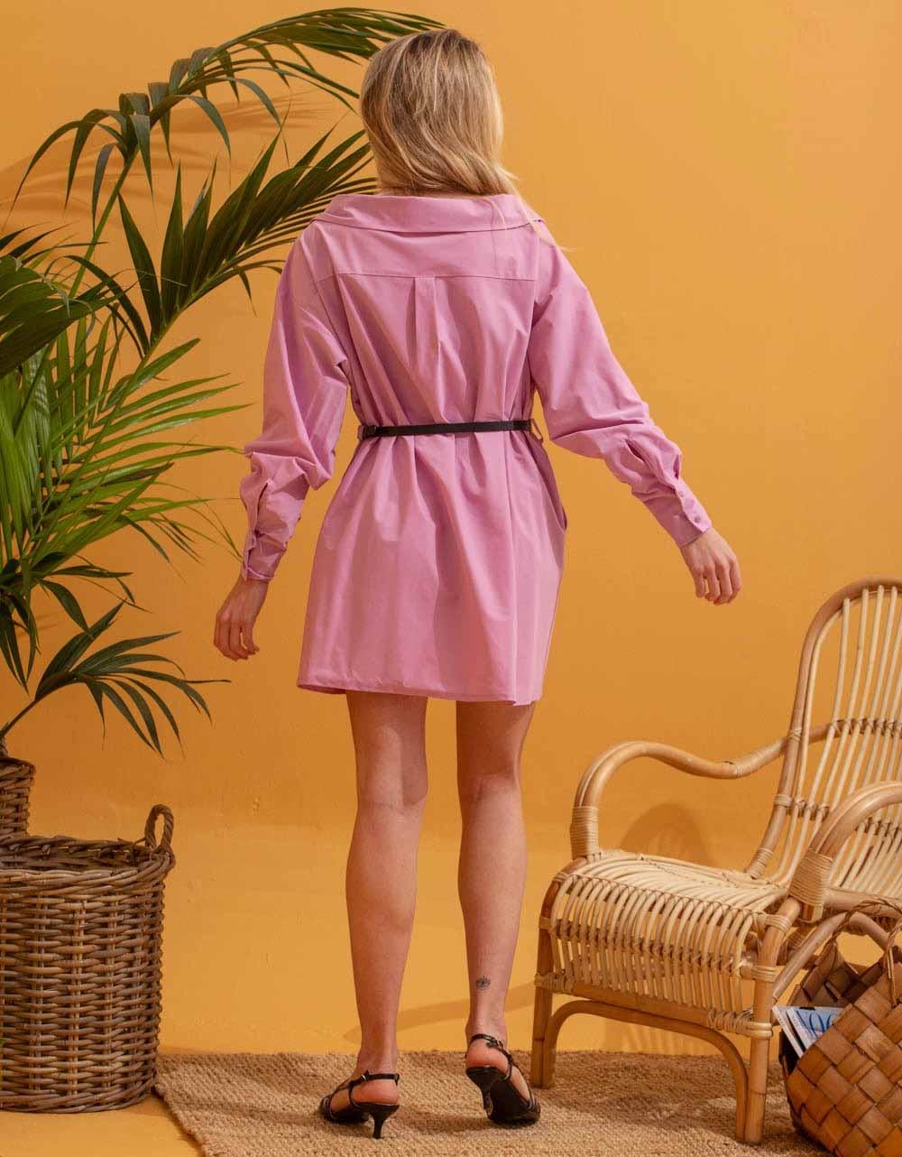 Εικόνα από Γυναικείο φόρεμα πουκάμισο με σούρες Μωβ