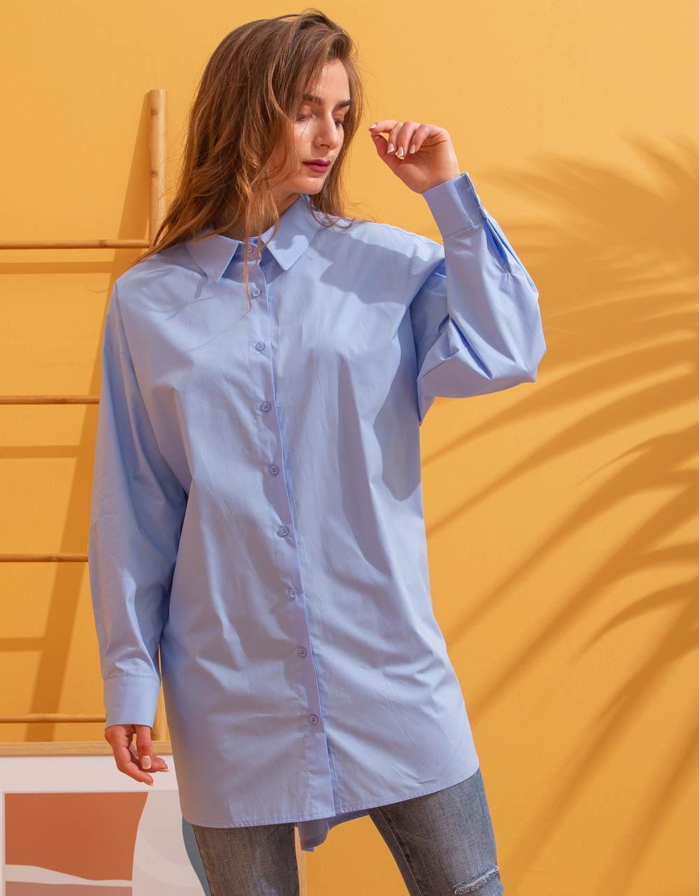 Εικόνα από Γυναικείο πουκάμισο oversized Σιέλ