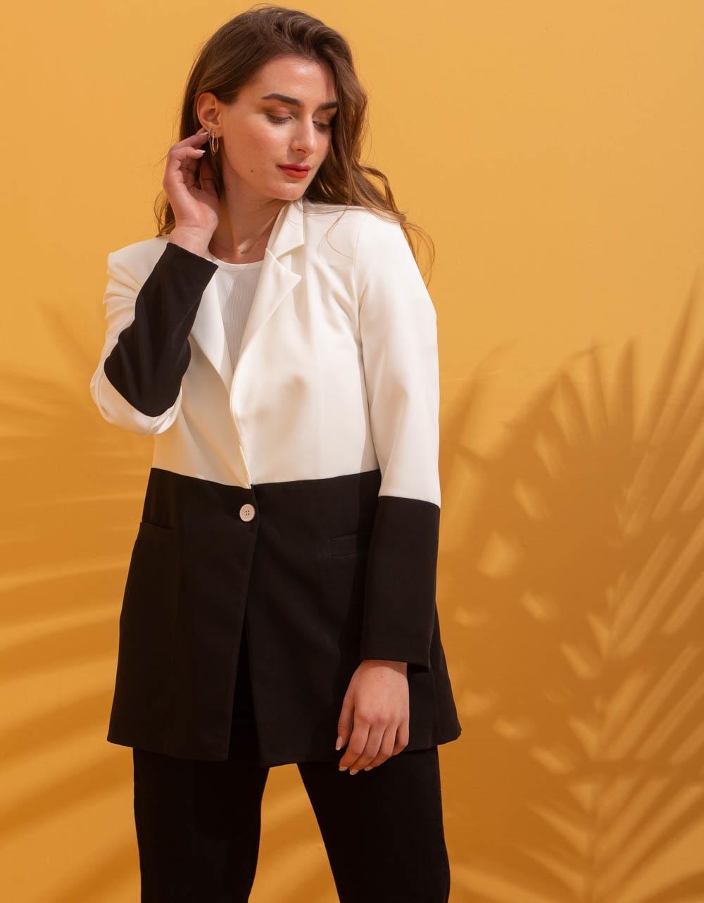 Εικόνα από Γυναικείο σακάκι με δίχρωμο σχέδιο Λευκό/Μαύρο