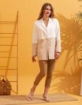 Εικόνα από Γυναικείο σακάκι με δίχρωμο σχέδιο Λευκό/Μπέζ