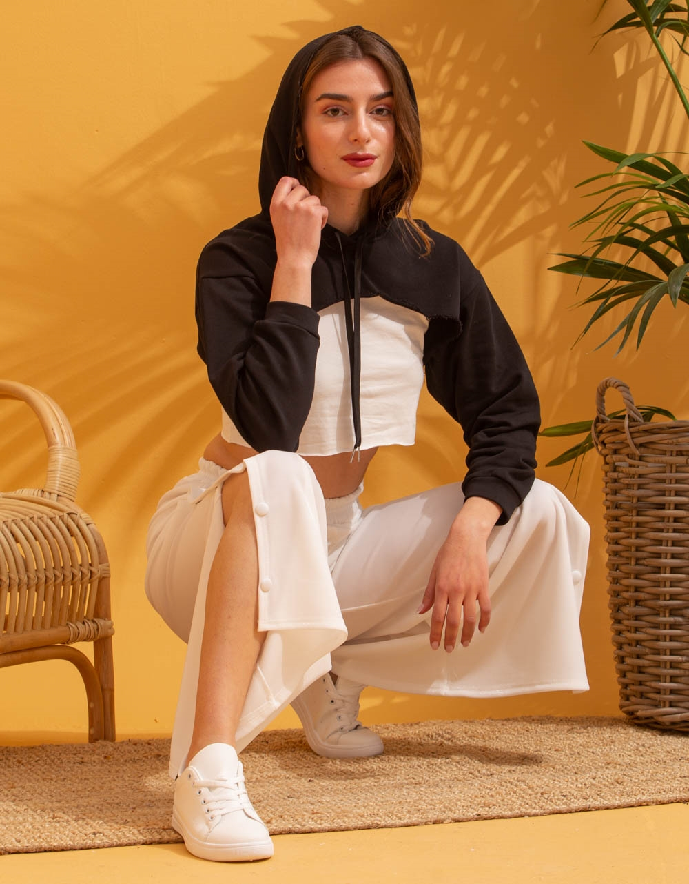 Εικόνα από Γυναικείο παντελόνι φόρμα καμπάνα Λευκό