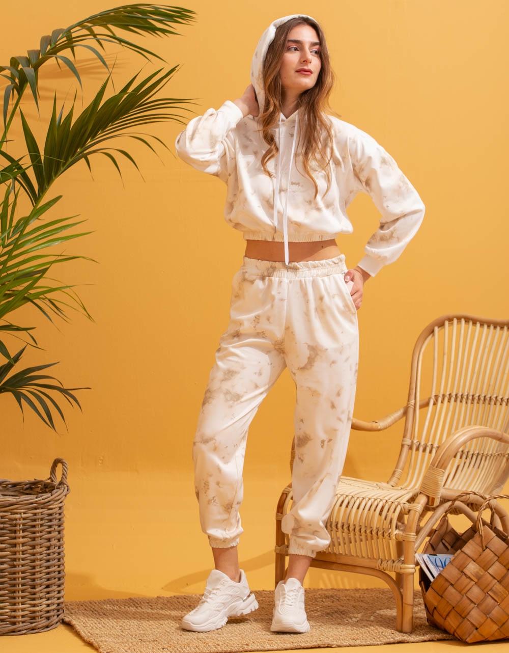 Εικόνα από  Γυναικεία σετ ρούχων παντελόνι & μπλουζάκι tie dye Μπεζ