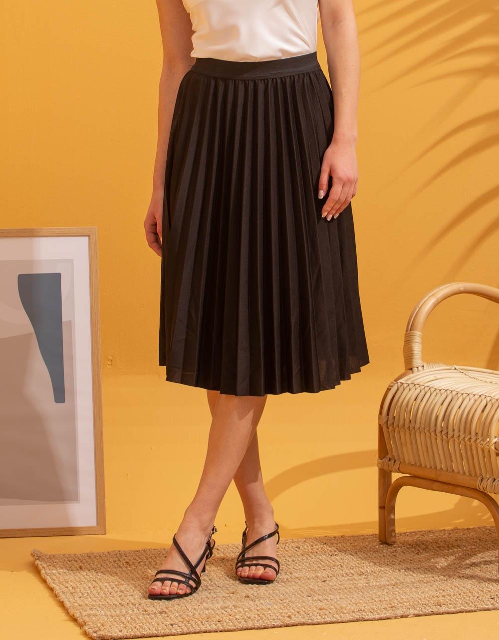 Εικόνα από Γυναικεία φούστα πλισέ Μαύρο