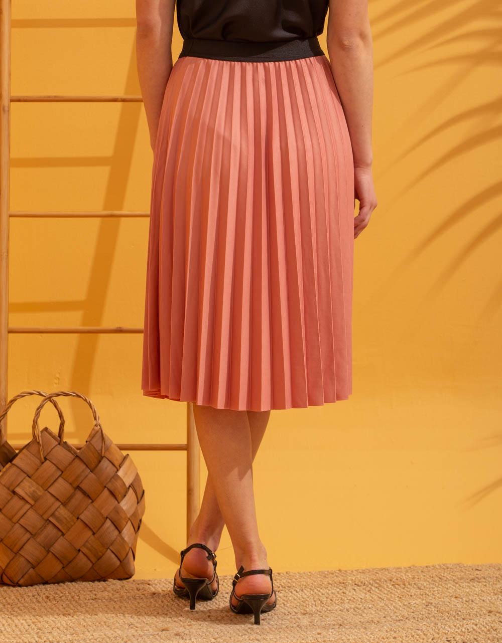 Εικόνα από Γυναικεία φούστα πλισέ Ροζ